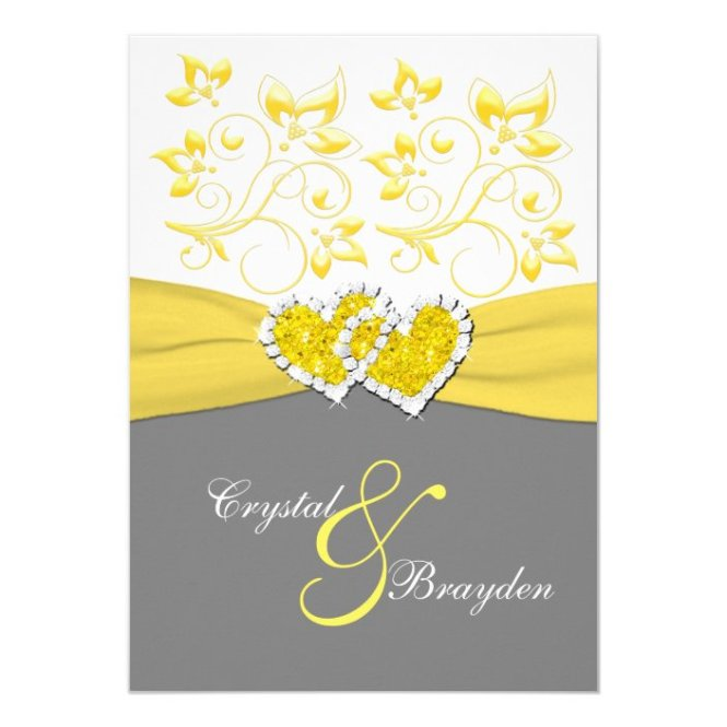 Yellow Gray White Joined Hearts