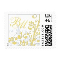 Yellow, Grey, White Floral Wedding Postage