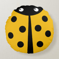 Yellow Ladybug Round Throw Pillow