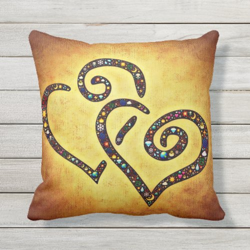 Yellow Lovely Heart pillow