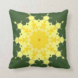 Yellow mandala on green throw pillows