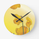 Yellow Narcissus Daffodil Round Clock