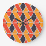 Yellow, red, cool trendy bush stroke geometric art large clock
