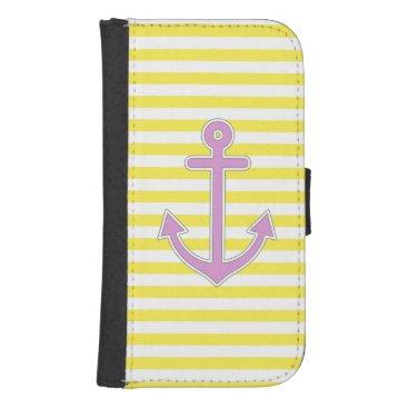 Yellow Stripes Purple Anchor Nautical Phone Wallet