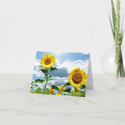 Yellow Sunflower Flowers Thinking of You, Love Thank You Card