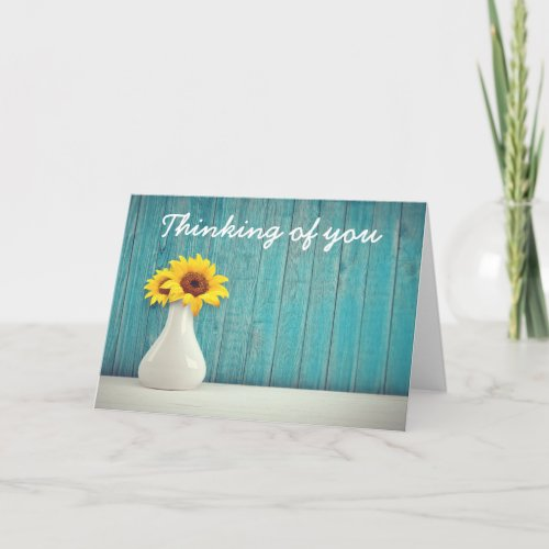 Yellow Sunflower Thinking Of You Card