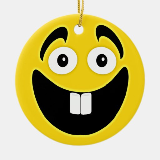 Yellow Two Front Teeth Smiley Face Double Sided Ceramic