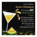 Yellow Watermelon Martini Birthday Party Invite