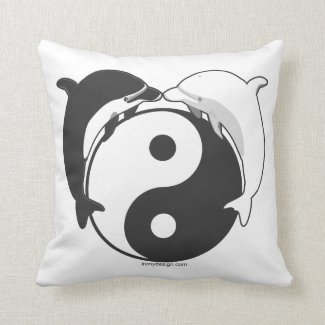 Yin Yang Dolphins Black/White Pillow