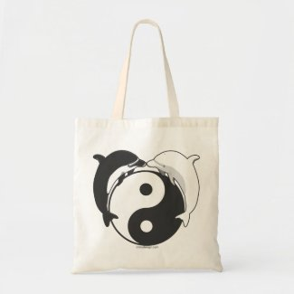 Yin Yang Dolphins Black/White Tote Bag