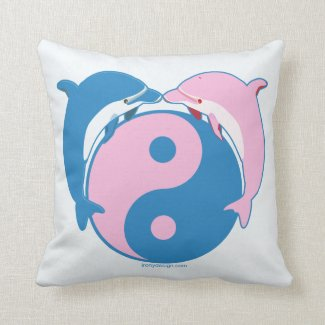Yin Yang Dolphins Blue/Pink Throw Pillow