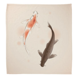 Yin Yang Koi fishes in oriental style painting Bandana