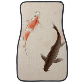 Yin Yang Koi fishes in oriental style painting Car Mat