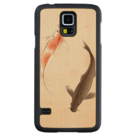 Yin Yang Koi fishes in oriental style painting Carved Maple Galaxy S5 Slim Case