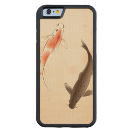 Yin Yang Koi fishes in oriental style painting Carved Maple iPhone 6 Bumper Case