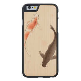 Yin Yang Koi fishes in oriental style painting Carved Maple iPhone 6 Slim Case