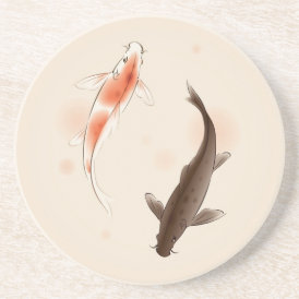 Yin Yang Koi fishes in oriental style painting Coaster