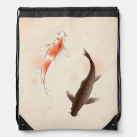 Yin Yang Koi fishes in oriental style painting Drawstring Backpack