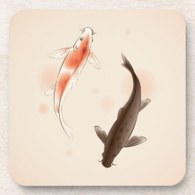 Yin Yang Koi fishes in oriental style painting Drink Coaster