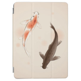 Yin Yang Koi fishes in oriental style painting iPad Air Cover