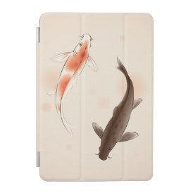 Yin Yang Koi fishes in oriental style painting iPad Mini Cover