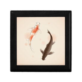 Yin Yang Koi fishes in oriental style painting Keepsake Box