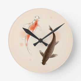 Yin Yang Koi fishes in oriental style painting Round Clock