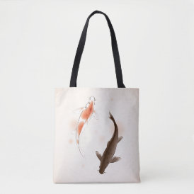 Yin Yang Koi fishes in oriental style painting Tote Bag