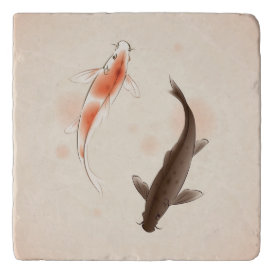 Yin Yang Koi fishes in oriental style painting Trivet