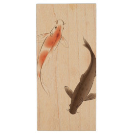 Yin Yang Koi fishes in oriental style painting Wood USB Flash Drive