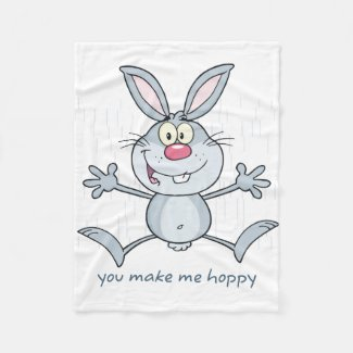 You Make Me Hoppy Bunny Rabbit Fleece Blanket