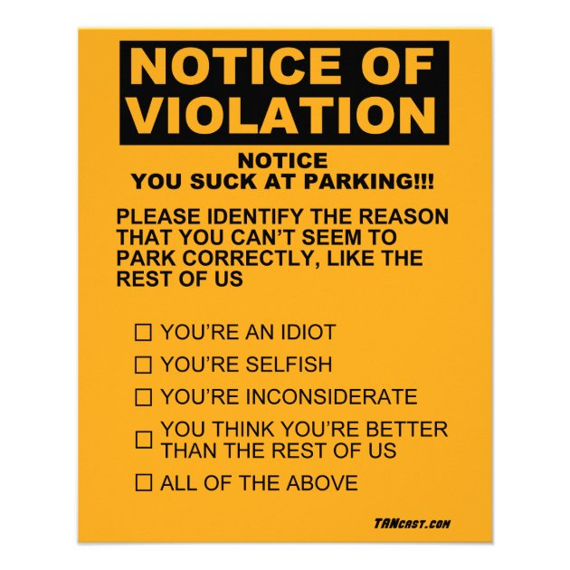 You Suck At Parking Ticket Flyer Zazzle