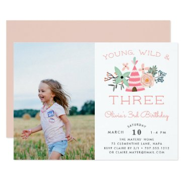 Young, Wild & Three | Photo Birthday Party Invite