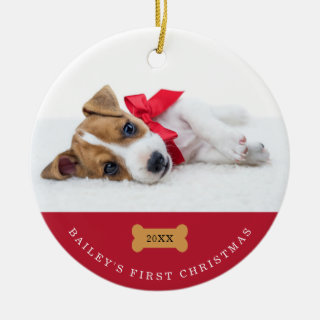 Your Dog's First Christmas | Red with Two Photos Ceramic Ornament