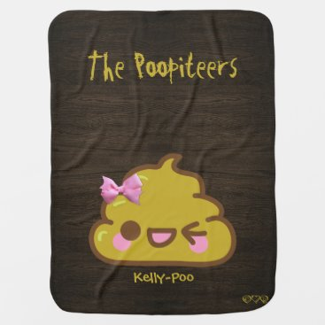 Your Name   Poo - Funny Kawaii Poopiteers Stroller Blanket