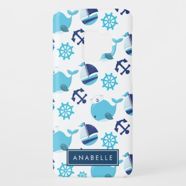 Your Name - Whale Pattern, Sailor Whales Case-Mate Samsung Galaxy S9 Case