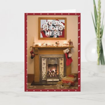 Your Photo- Elegant Christmas stocking & Fireplace Holiday Card