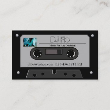 """your photo"" Retro Cassette Tape DJ Business Cards"