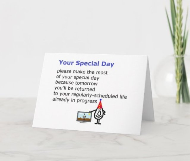 Your Special Day A Funny Birthday Poem Card