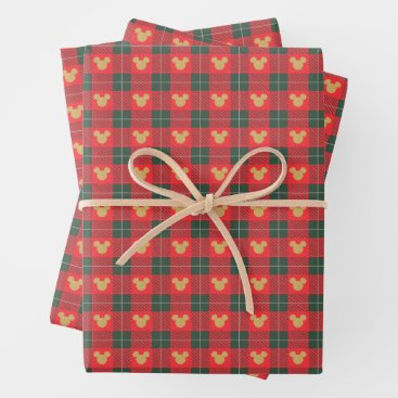 Yuletide Joy | Mickey Christmas Plaid Pattern Wrapping Paper Sheets