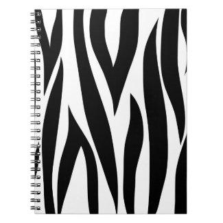 Zebra animal stripes pattern spiral note book