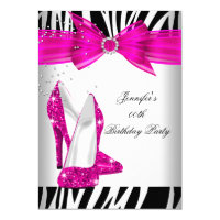 Zebra Hot Pink High Heel Shoe Black Birthday Party 4.5x6.25 Paper Invitation Card