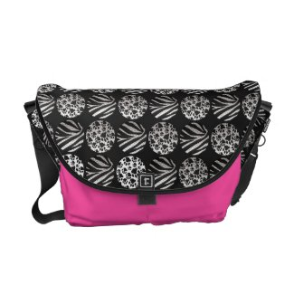 Zebra/Kitty paws Shocking Pink/Metal Texture Bag