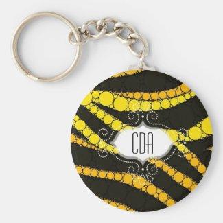 Zebra monogram keychains