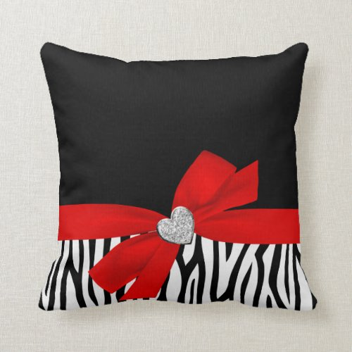 Zebra Red Bow Diamond Heart Throw Pillow