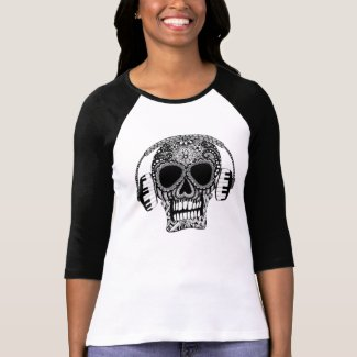 Zentangle Skull Women's 3/4 Sleeve Fitted Top T Shirt