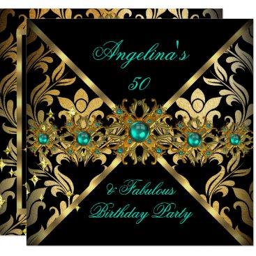 ZIZZAGO DESIGN Fabulous Jade Gold Damask Party 2 Invitation
