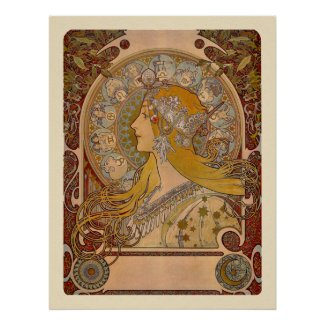 Zodiac by Alphonse Mucha Print print