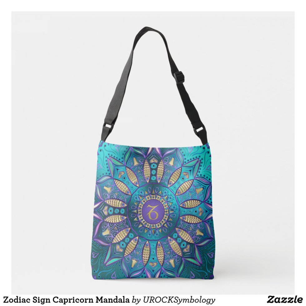 Zodiac Sign Capricorn Mandala Crossbody Bag