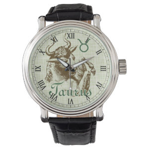 Zodiac Sign Taurus Symbol Wrist Watches